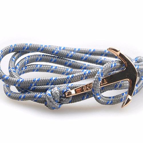pulsera brazalete de cuerda con ancla gris unisex