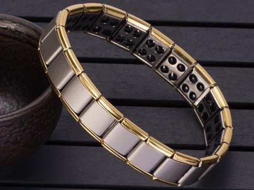 pulsera brazalete de germanio en acero inoxidable antifatiga
