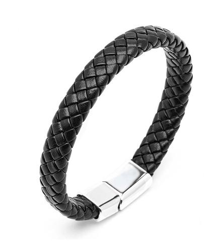 pulsera brazalete de hombre - cuero trenzado - cierre acero