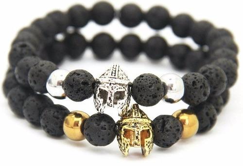 pulsera brazalete hombre leon calavera casco espartano
