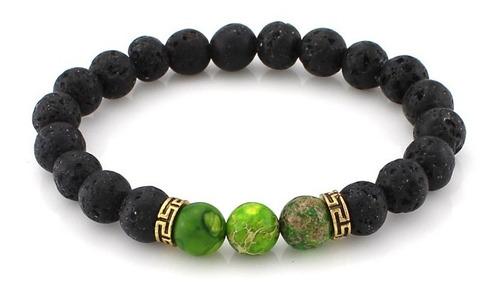pulsera brazalete manilla piedra lava volcánica verde hombre