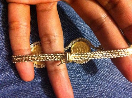 pulsera brazalete oro 14k kt ~3 monedas de 2 1/2 pesos 22k