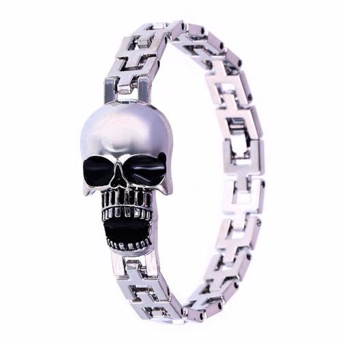 pulsera brazalete-piel acero-moda-bisuteria-metal-calavera