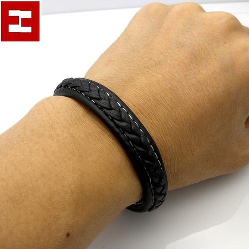 pulsera brazalete piel acero titanio + envió + regalo