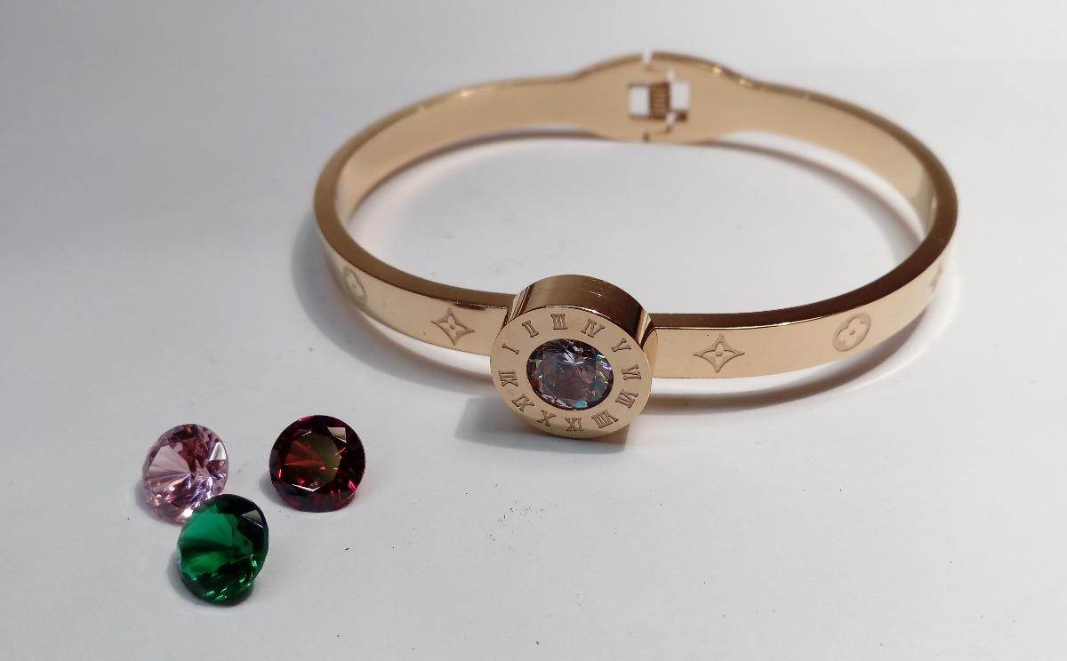 ade785e92207 pulsera brazalete tipo louis vuitton acero dorado mujer. Cargando zoom.