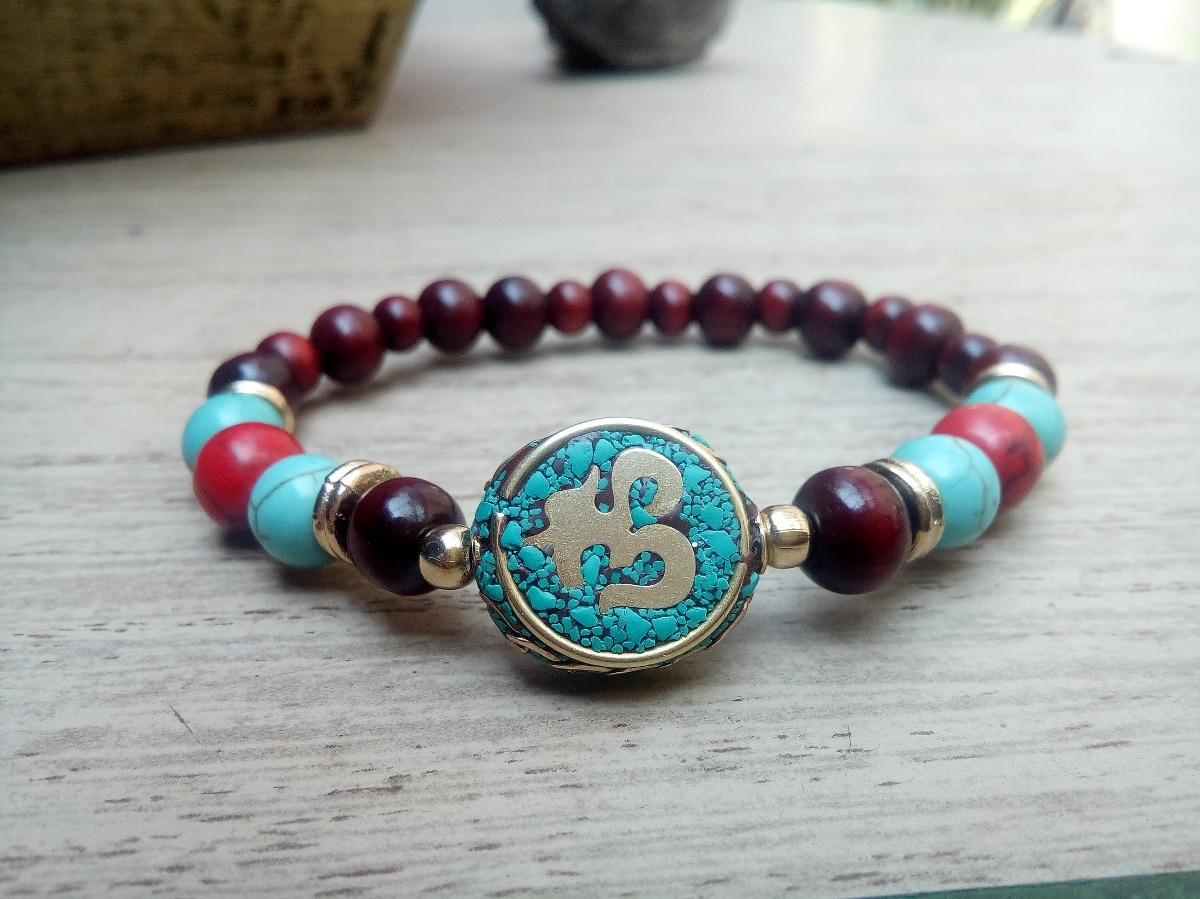 comprar popular a997d d5095 Pulsera Budista-tibetana Con Om Nepalí Y Madera De Sándalo