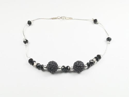 pulsera cadena de plata con cristales negros y bolitas multi