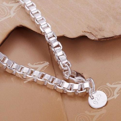 pulsera cadena plateada mujer moda barata joyería brillante