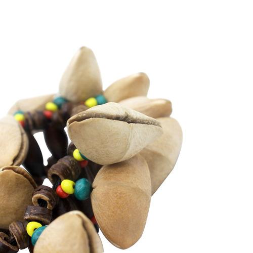 pulsera cáscara nueces hecho a mano amarillo + negro