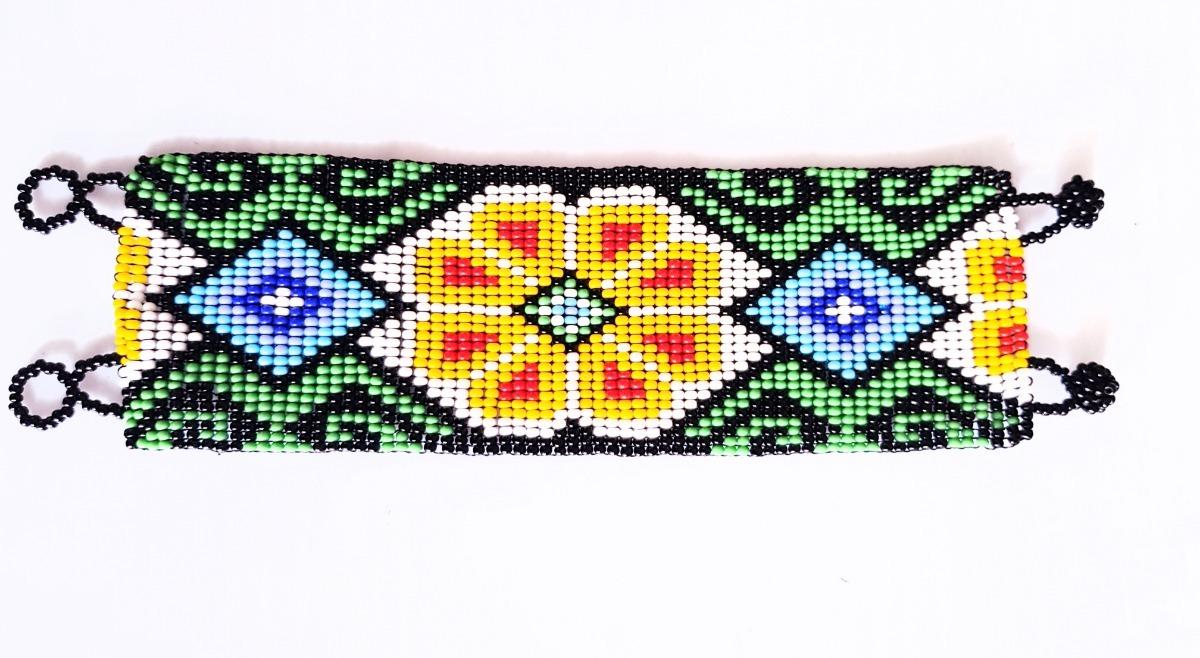 365f44e7cff4 Pulsera Chaquira Flor Arte Huichol Artesania Mexicana -   299.90 en ...