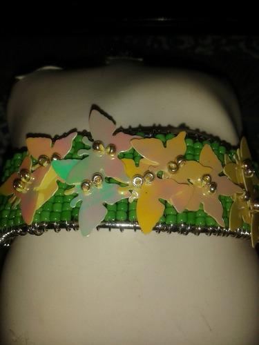 pulsera c/mostazillas adornos mariposas, nueva