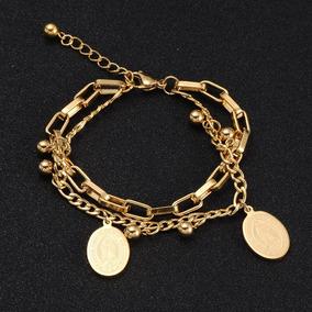 ae679cbd568e Pulsera Color Oro Acero Inoxidable Medalla Virgen Para Mujer