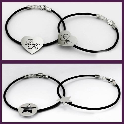 pulsera compromiso pareja -  amigos en plata 925