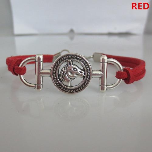 pulsera con caballo equitación color rojo regalo p-047