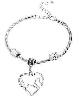 pulsera con caballos en el corazón plateada regalo p-024