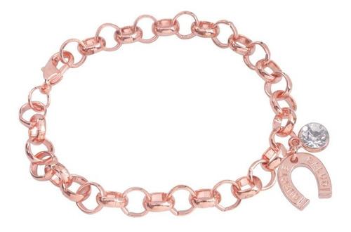 pulsera con herradura y cristal zirconia rose gold p-023 f