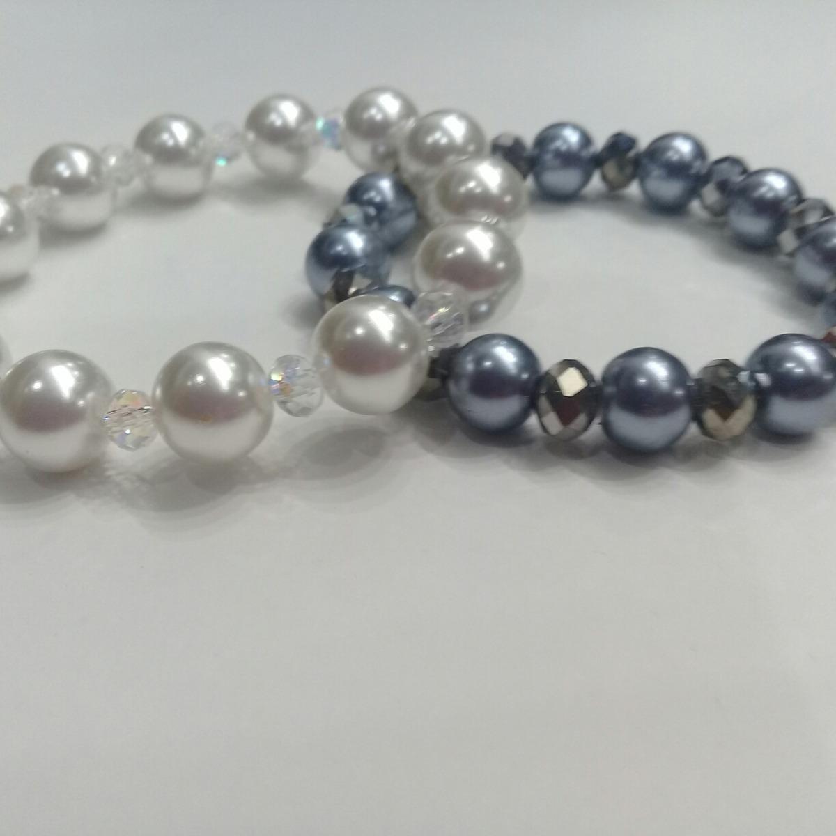 e45156caa253 pulsera con perlas grandes y cristal. Cargando zoom.