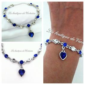 8485b3e11e9e Pulsera Corazón Colgante Azul Cristal Austriaco Baño Plata