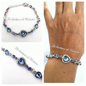 8d6aafdfc0e1 Pulsera Corazón Cristal Austriaco Azul Baño Plata