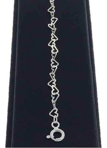 pulsera corazones de plata ley 925 co050br