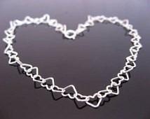 pulsera corazones plata .925 de 16cm a 20cm amor pareja