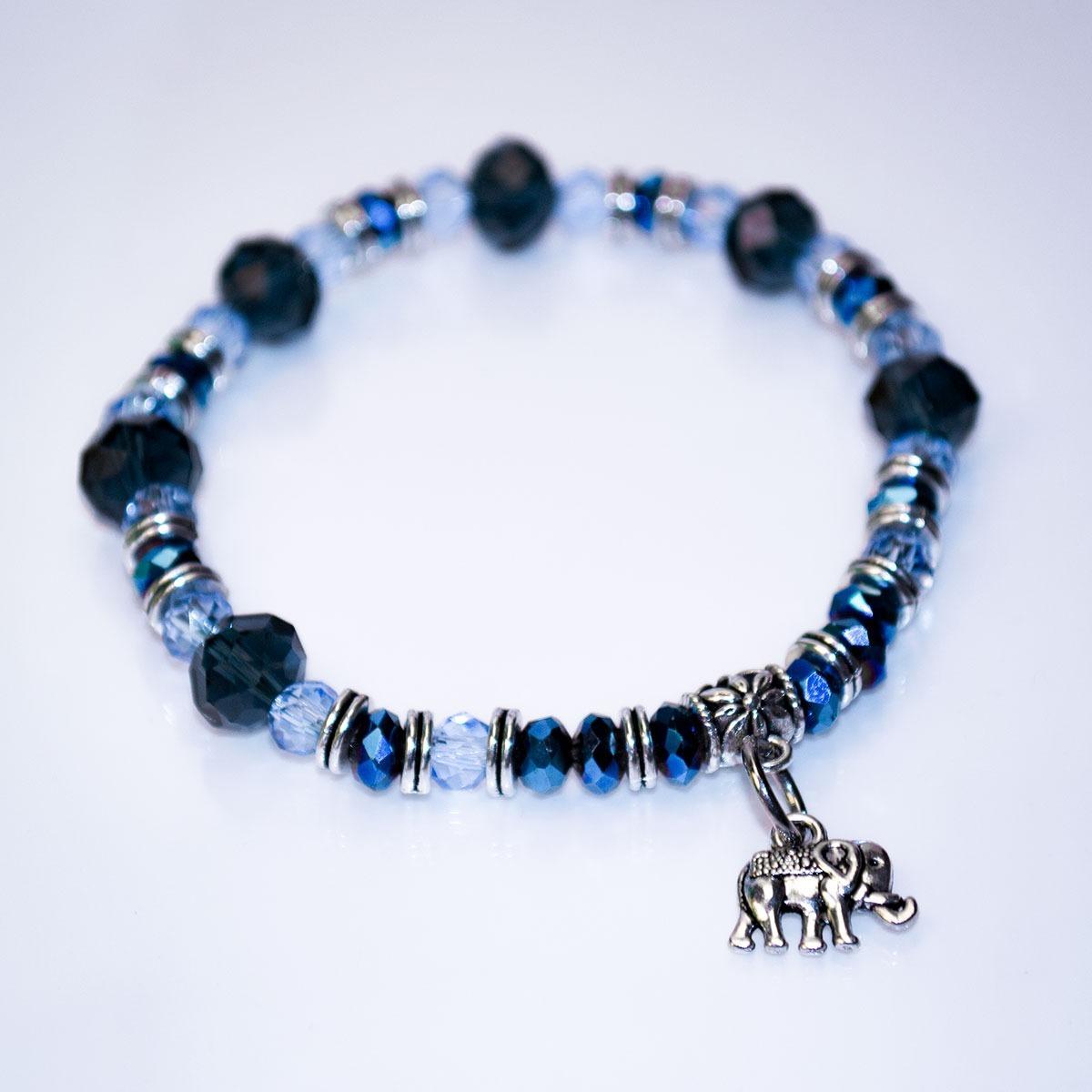 3927cfa671b5 Pulsera Cristal Checo Facetado Tonos Azules