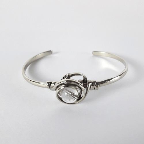 pulsera cuarzo cristal mujer metálico