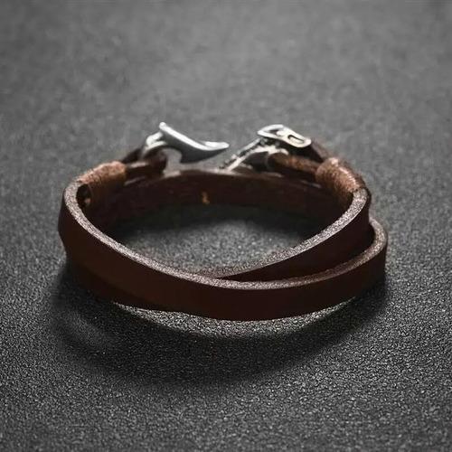 pulsera cuero doble capa anzuelo