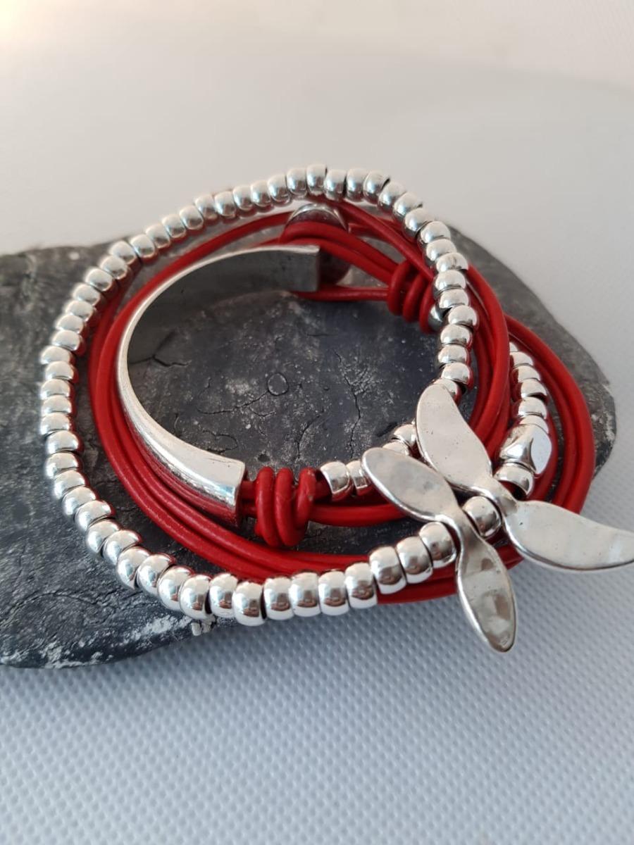 54969b058e43 pulsera cuero y plata bañada modelo libelula para mujer. Cargando zoom.