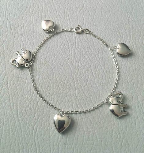 pulsera dama con dijes colgantes elefante plata ley 925, 7