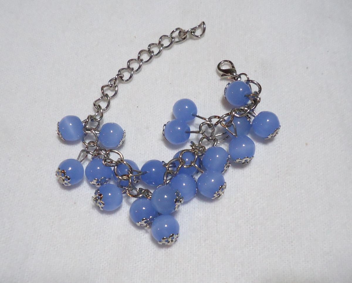ac7c7c46fde7 Pulsera De Acero Y Bolitas Azules