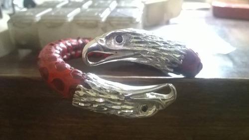 pulsera de aguilas en plata .925 y autentica piel de piton