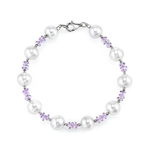 pulsera de amatista y perlas cultivadas de agua dulce blanca