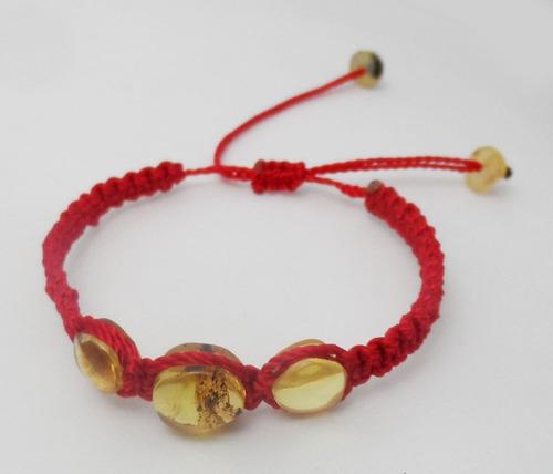pulsera de ambar hilo seda rojo para bebes --kairos--