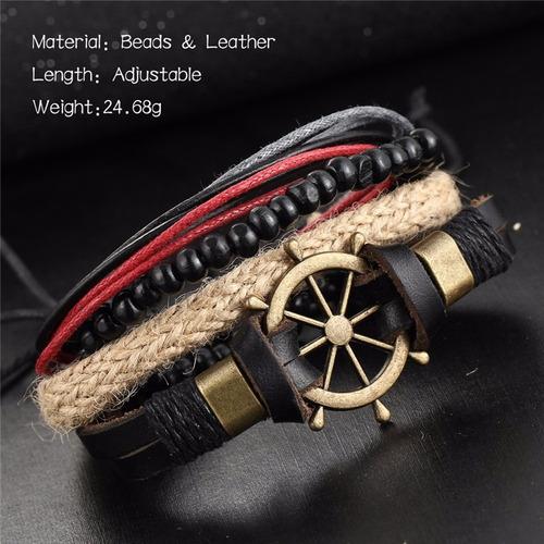 pulsera de caballero y dama de cuero  elegante y juvenil 18