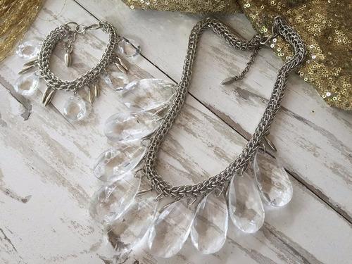 pulsera de cadena y piedra cairel, ideal para fiesta