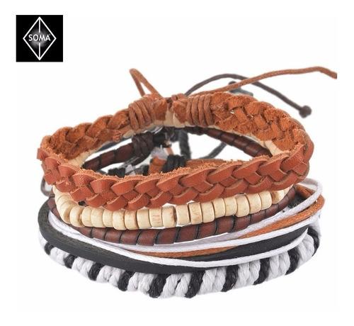 pulsera de cuero para hombre set brazaletes hipster moda