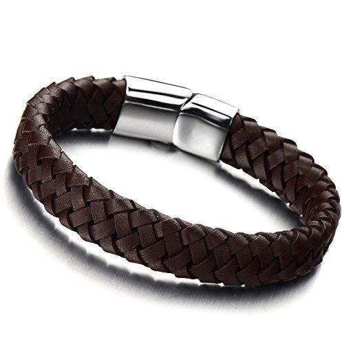 pulsera de cuero trenzada minimalista marrón para hombres p