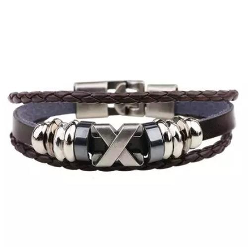 pulsera de cuero y metal para hombre modelo de x