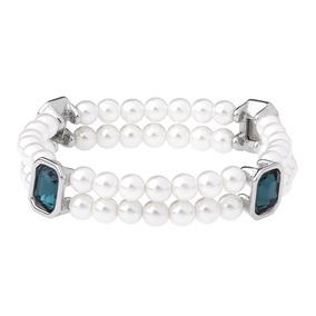 70d1e41ff894 Pulsera De Dama Baño Oro Blanco Perlas Y Cristal Nice 218037