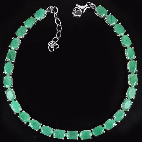 pulsera de esmeraldas en plata esterlina 925