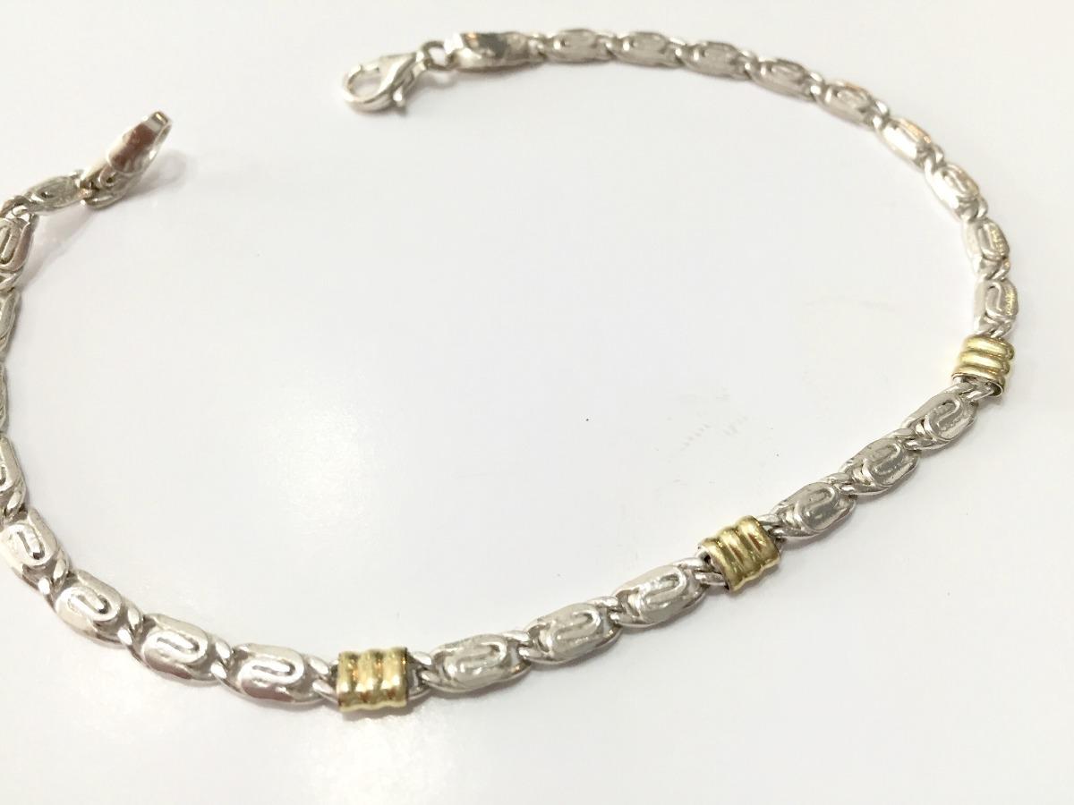 5217fb978a16 pulsera de hombre plata y oro. Cargando zoom.