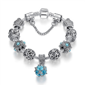 fe9a5d73be8f Pulsera De Moda Estilo Pandora 9 Charms Y Crital Murano Azul