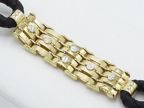 pulsera de oro amarillo  blanco 14k caballero tornillo 21cm