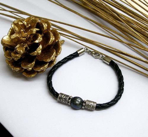 pulsera de perla de río auténtica, brazalete unisex