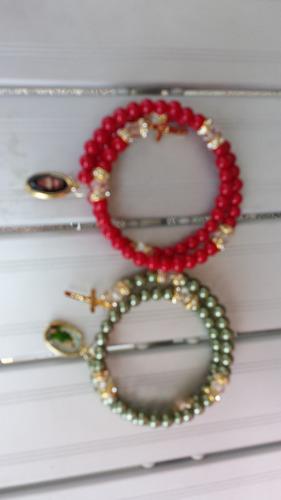 pulsera de perla de rosario varios santos oferta