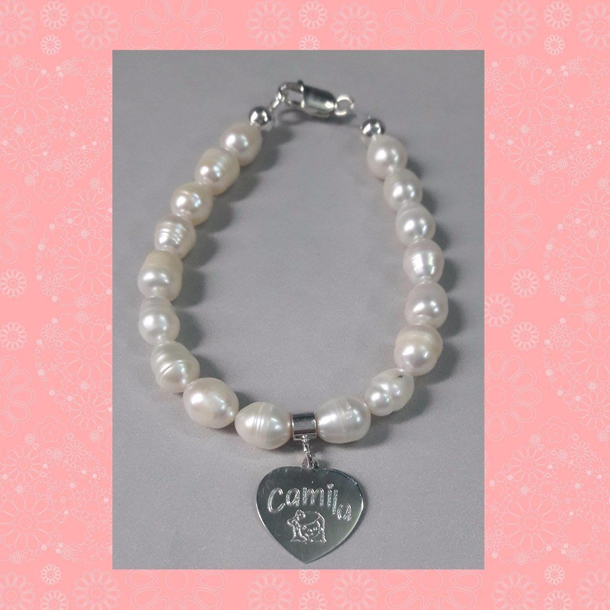 9631df85ed46 pulsera de perlas + dije corazón para grabar todo plata 925. Cargando zoom.