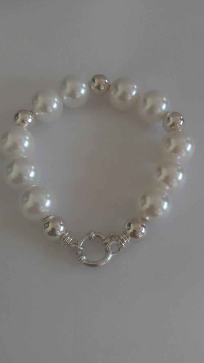 a156f4d187ab pulsera de perlas y bolitas con gancho marinero plata 925. Cargando zoom.
