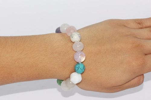 pulsera de piedra cuarzo, aventurina verde y turquesa ppn328
