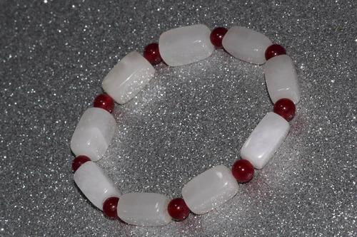 pulsera de piedra natural cuarzo y ágata roja chakras ppn484
